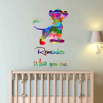 kcik2032 Full Color Wall decal Watercolor Character Disney Sticker Disney children's room The Lion King quote