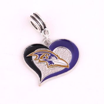 Sport Baltimore Ravens Titans Saints Bears New York Giants Dolphins football team Beads Charms fit Fashion Bracelet DIY Jewelry