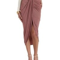 Burgundy Cmb Ruched & Striped Tulip Skirt by Charlotte Russe