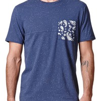 On The Byas Kyle Pieced Pocket Crew T-Shirt - Mens Tee - Blue