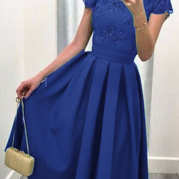 Blue Short Sleeve Lace Detail V-Cut Back Pleated Midi Dress