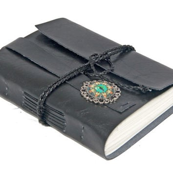 Black Faux Leather Wrap Journal with Eye Cameo Bookmark
