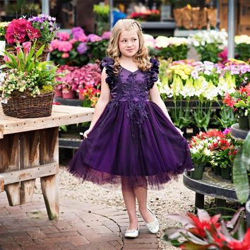 Ariana Dark Purple Petal Sleeve Satin & Lace Dress