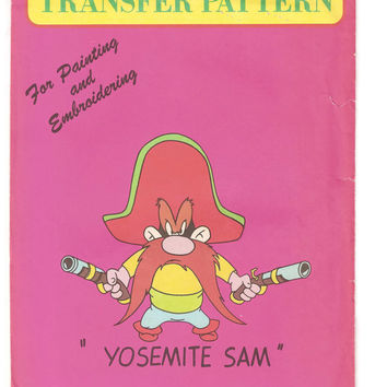 Vintage Yosemite Sam Vogart Transfer Pattern, Uncut, Warner Bros, Iron On, Embroidery, Painting, No. 3002, 1970s, Arts, Crafts