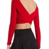 Ribbed Crop Top with Surplice Back by Charlotte Russe