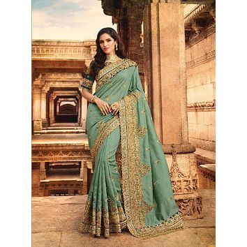 Sea Green Heavy Embroidered Luxurious Indian Pure Silk Wedding Sari - VIR13288