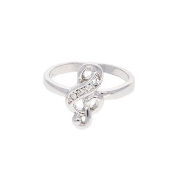 Dear Deer White Gold Plated CZ Music Note Treble Cocktail Ring