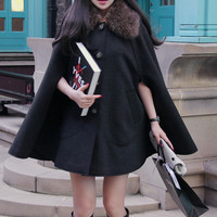 Black Khaki Lapel Fur Cloak Wool Cape Coat Bow 2014 Winter Korean Worsted Batwing Sleeve Loose Women Single Breasted Outerwear-in Wool & Blends from Apparel & Accessories on Aliexpress.com | Alibaba Group