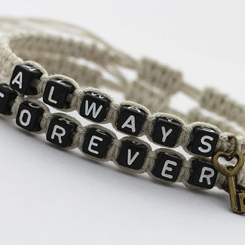 Couples Bracelets Set, His and Hers Bracelets, Always Forever Bracelets, Key Lock Bracelets, Anniversary Gifts, Friendship Graduation Gifts