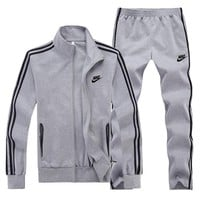 Nike Women Men Fashion Casual Cardigan Jacket Coat Pants Trousers Set Two-Piece