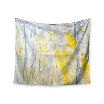 "CarolLynn Tice ""Abstraction"" Grey Yellow Wall Tapestry"
