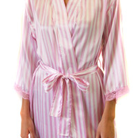 Candy Pink Striped Satin Short Kimono Robe