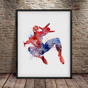 Spider man, Spider man poster, Superhero Watercolor Art Print Poster, Home Decor, Watercolor Painting, Wall Art, Superhero Accessories -a18