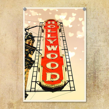 Portland Oregon Photography Hollywood Theatre Red and Pink--Fine Art Lomography 8x12