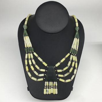 1pc, 2-36mm Green Nephrite Jade Multi-Strand Bead Necklace,@Afghanistan,NPH360