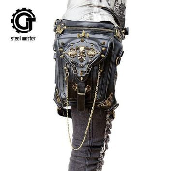 ac NOOW2 Steampunk skulls Messenger shoulder bag gothic female bag personality summer new tide male rivet single shoulder waist bag