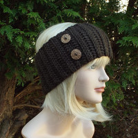 Coffee Brown Ear Warmer - Crochet Headband with Buttons - Head Wrap - Womens Ski Band