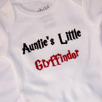 Auntie's Little Gryffindor Bodysuit. Harry Potter Inspired. Can Be Customized By Size.