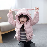 2017 Baby Girls Winter Snow Wear Tops Cotton Clothes Fashion Jackets Pink Black Coat Keep Warm Thickening Overalls For Children