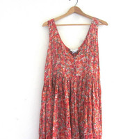Vintage floral sundress / sheer rayon summer dress / long  floral dress / size 14