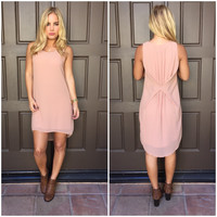 Pale Pink Pleat Bow Shift Dress