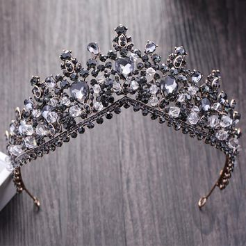 Cool KMVEXO Vintage Baroque Black Crystal Queen King Crowns For Women New Wedding Bridal Tiaras Diadem Bride Hair Jewelry AccessoriesAT_93_12
