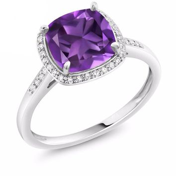 Gold Ring, with Accent Diamonds, 2.05 Ct, Cushion Cut, Purple Amethyst, 10K, White Gold