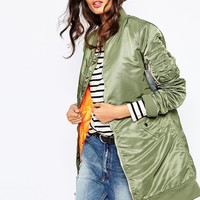 Alpha Industries Ma1 Long Line Bomber Jacket With Contrast Lining