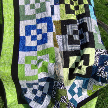 Twin Size Quilt, Black White Blue Green Quilt, Bento Box Quilt, Contemporary Bed Quilt, Modern Bedding, Patchwork Quilt Blanket