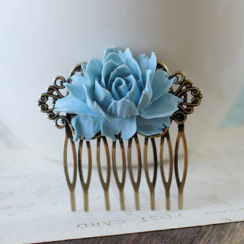 Dusky Blue Rose Flower Matte Antique Bronze Filigree Hair Comb. Vintage Inspired Bridal Hair Comb, Bridesmaids Gift, Wedding Hair Accessory