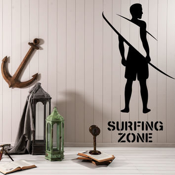 Wall Sticker Vinyl Decal Surfer Board Surfing Area Beach Decor Unique Gift z4765