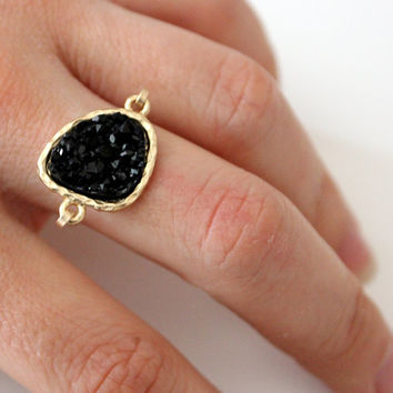 Druzy black ring 14kt gold filled  custom size by anthology27