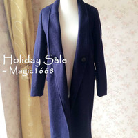 Long Winter Coat Jacket in navy blue, Womens Lapel Neck Wool coats with Cocoon Shape Minimalist style, Womens Outwear, By magic1668