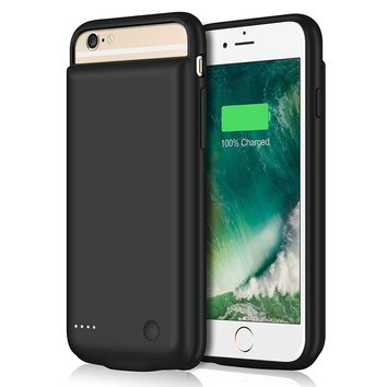 iPhone 6 Plus / 6S Plus Battery Case [7300mAh], Gixvdcu UPGRADED Rechargeable Extended Battery Portable Power Charger for iPhone 6+, 6S+ (5.5 Inch) 4 LED Indication Protective Charging Cover - Black