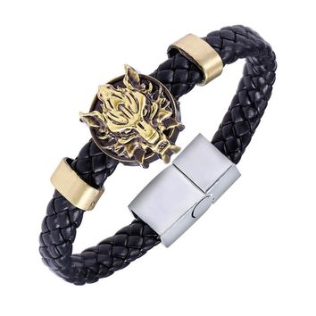 New Anime Game Final Fantasy Wolf Symbol Leather Bracelet Wristband For Men Weave Leather Charm Bracelet & Bangle