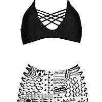 SAILING Black White High Waist Monokini Halterneck Bandage Lace-up Bikini Set Plus Size Women Swim/Bathing Suit