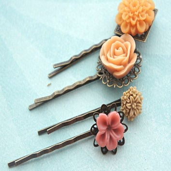 shades of peach flower hair clips
