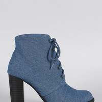 Denim Almond Toe Lace Up Heeled Combat Ankle Boots