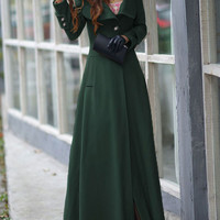 Green Long Sleeve Buttoned Woolen Long Trench Coat