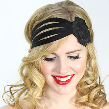 black flower headband, big flower headband, headbands for women