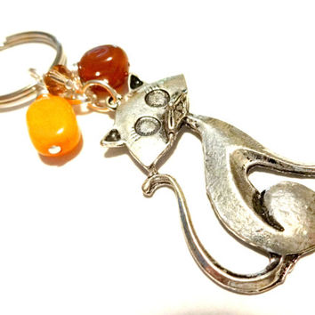 Cute Cat Lover Beaded Gemstone Keychain, Gift for Cat Lover, Autumn Accessories, Car Accessories,