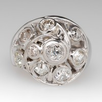 Old Mine & Old European Diamond Low Profile Dome Cluster Ring