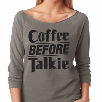 Grey Coffee Before Talkie Raglan Shirt