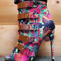 "Multi-Color Fleek Gold Band Open Toe Ankle Boot Shoes - 4.5"" Heels"