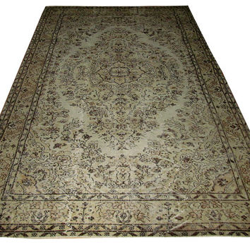 Sale Cream Color Overdyed Handmade Rug with Medallion Design  8'5'' x 5'4''   feet