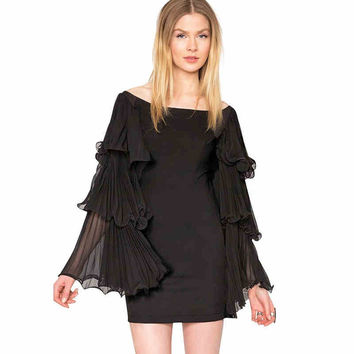Black Layered Trumpet-Sleeve Chiffon Bodycon Dress