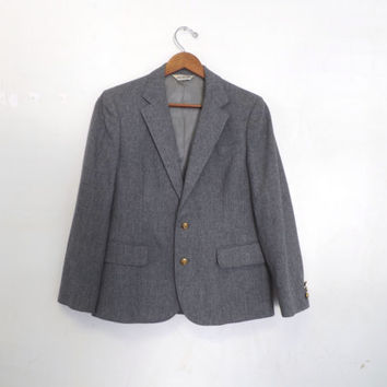 Vintage 80s 90s Gray JG Hook Petite Medium Wool Blazer Travel Jacket Suit Coat Small Indie Boho Preppy Equestrian 1940s 50s Style Classic