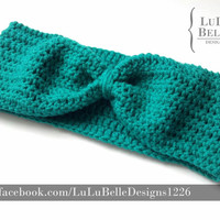 Crochet FAUX BOW headband ear warmer by Lulu Belle Designs