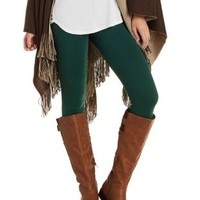Emerald Solid Stretch Cotton Leggings by Charlotte Russe