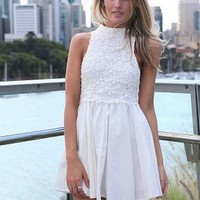 White Sleeveless Mini Dress with Crochet Crop Overlay